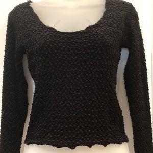Moda International Black Long Sleeve Top Size Sm